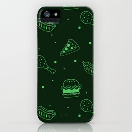 Fast Food Snacks Attack - Pizza Pie Hot Dogs Chicken Wings! on Green iPhone Case