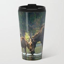 Love between Mother And Calf Moose Travel Mug