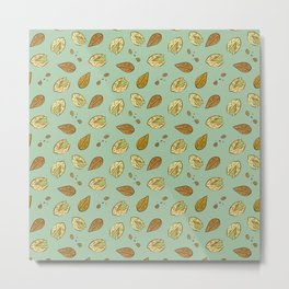 Nuts Almonds and Pistachios pattern Metal Print