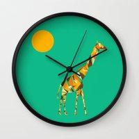 giraffe Wall Clocks featuring Giraffe  by fly fly away