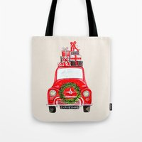 craftberrybush Tote Bags featuring Red Christmas Car  by craftberrybush