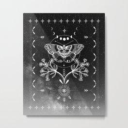 Magical Moth Black Metal Print