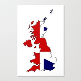 United Kingdom Map and Flag Canvas Print