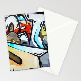 Graffiti blue cyan woman abstract impressionist street art colorful red gray yellow spraypaint urban Stationery Cards