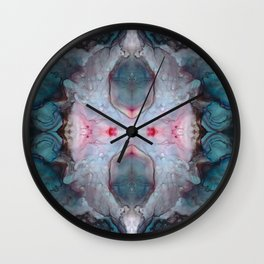 Abstract Kaleidoscope Design in Blues, Grays, and Pinks Wall Clock