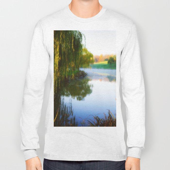 Morning mist on Schnormeier pond Long Sleeve T-shirt