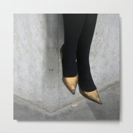 the girl in the gold shoes Metal Print