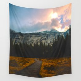 Path leading to Mountain Paradise Mountain Snow Capped Pine trees Tall Grass Sunrise Landscape Wall Tapestry