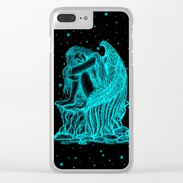 A sleeping Angel , black and green Design Clear iPhone Case