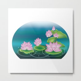 Lotus Flower with Leaves Metal Print