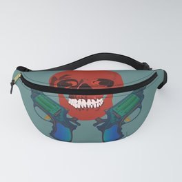 Red color human skull with two red and black color roses and two guns on dark pistachio color background Fanny Pack