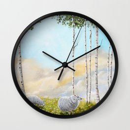 Afternoon on the Hill Birch Tree Painting Wall Clock