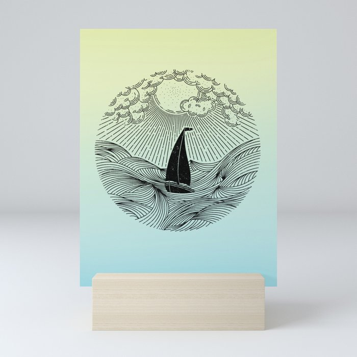 IN THE WAVES OF CHANGE WE FIND OUR TRUE DIRECTION (Blue) Mini Art Print
