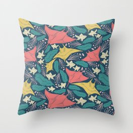 Manta Ray And Fish Pattern Throw Pillow