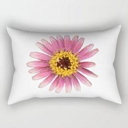 Pink flower on White Rectangular Pillow