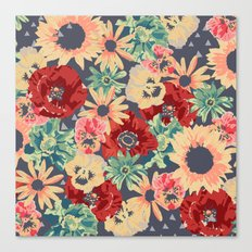 SEPIA FLOWERS -poppies, pansies & sunflowers- Canvas Print