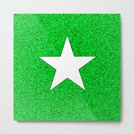 white star on green and black abstract background Metal Print