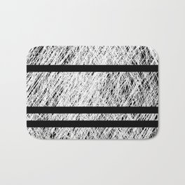 Interrupted Thoughts - Abstract Black And White Bath Mat