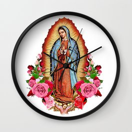 Our Lady of Guadalupe with roses Wall Clock