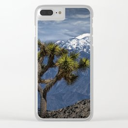 Joshua Tree at Keys View in Joshua Park National Park viewing the Little San Bernardino Mountains Clear iPhone Case
