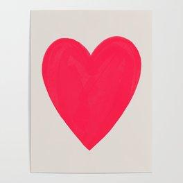 Big Neon Heart - Hot Pink Poster