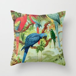 Amazonian Birds August Belem Brazil Colorful Tropical Birds Scientific Illustration Parrots Throw Pillow