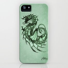 """Tsunami"" by Amber Marine ~ Sea Dragon (Jade Version) ~ Graphite Illustration, (Copyright 2005) iPhone Case"
