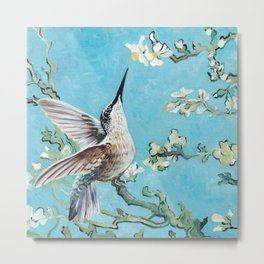 Almond Blossom with Hummingbirds I Metal Print