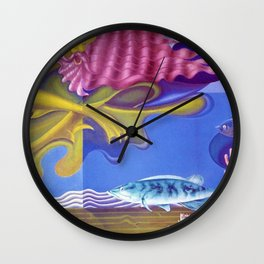 Aquatic Vision underwater landscape coral, fish & Poseidon painting by Hilaire Hiler Wall Clock