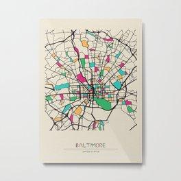 Colorful City Maps: Baltimore, Maryland Metal Print