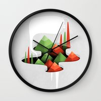 abyss Wall Clocks featuring Abyss by Mathieu Clauss