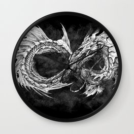Ouroboros mythical snake on black cloudy background | Pencil Art, Black and White Wall Clock