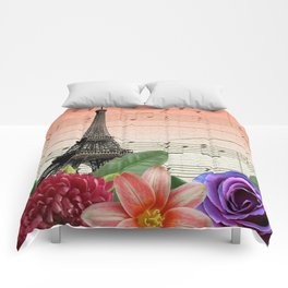 Flowers & Music in Paris Comforters