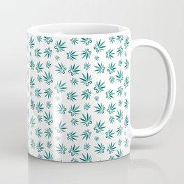 Marijuana leaf and scissors seamless pattern background Coffee Mug