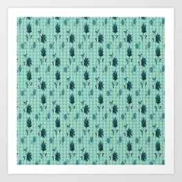 country blue flowers pattern Art Print