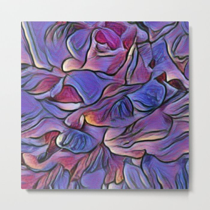 Flowing Soft Petal Abstract - Purple Metal Print