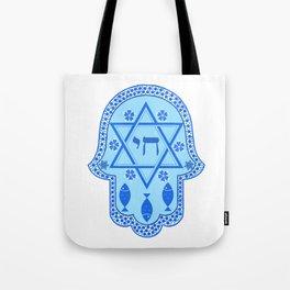 Hamsa for blessings - david shield - blue Tote Bag