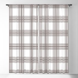 Farmhouse Plaid in Taupe Brown and White Blackout Curtain