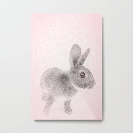Rabbit in pink and gray, Baby Animal mosaic Metal Print
