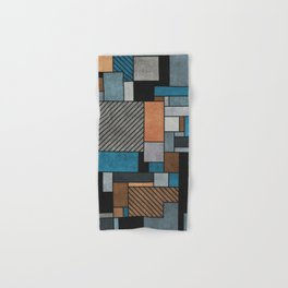 Random Concrete Pattern - Blue, Grey, Brown Hand & Bath Towel