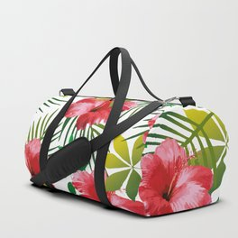 Hibiscus Flower and Leaf Duffle Bag