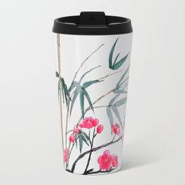 bamboo and red plum flowers Travel Mug