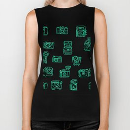 Cameras: Teal - pop art illustration Biker Tank