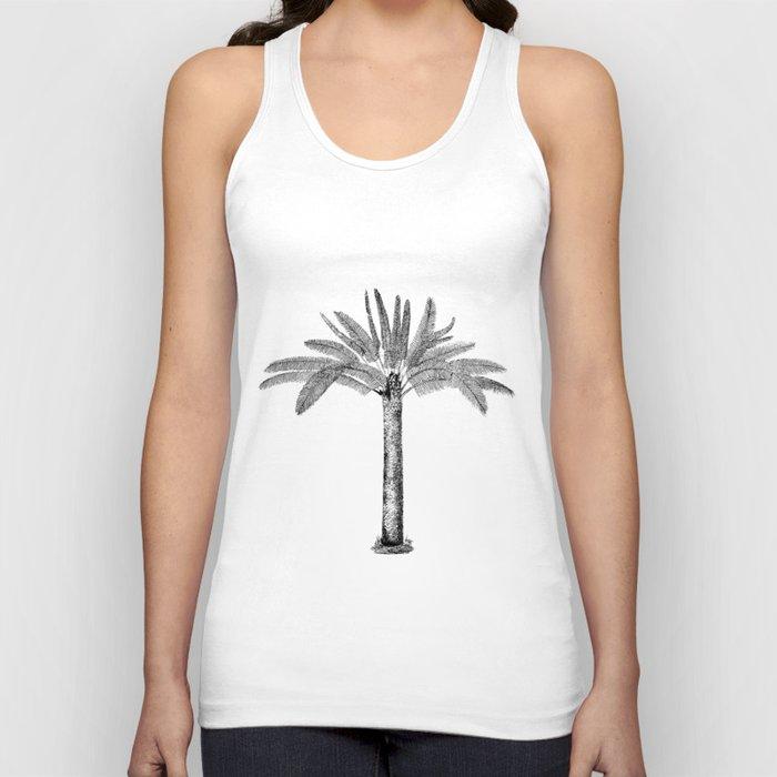 Vintage Palm Tree black and white Unisex Tank Top
