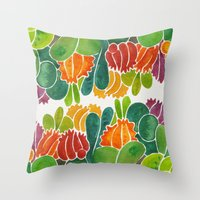 succulents Throw Pillows featuring Succulents by Cat Coquillette
