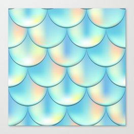 Teal Green Mermaid Pattern, Holographic Fish Scale Print Canvas Print