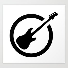 Bass Guitar Black Ink Stamp Art Print