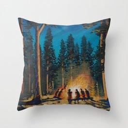 campfire gathering Throw Pillow