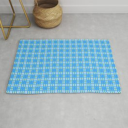 Yellow Blue White Cell Checks Rug