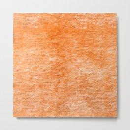 Neon Orange Textured Metallic Foil Metal Print